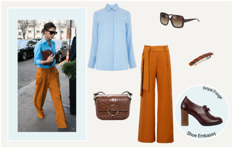 victoria beckham style outfit orange blue.png